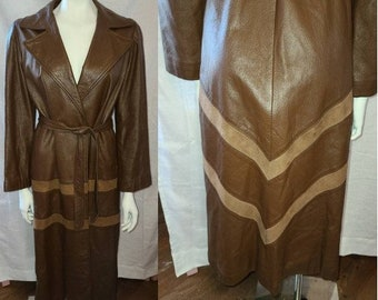 Vintage Leather Coat Long 1960s 70s Brown Leather Wrap Coat Suede Chevron Inserts Tie Belt Mod Boho S chest 37 in.