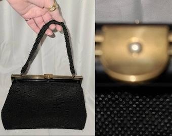 SALE Vintage Beaded Purse 1950s Black Tiny Bead Handbag Top Handle Unique Clasp Rockabilly