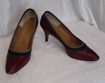Vintage 50s Pumps Maroon Leather Navy Suede High Heels Palizzio Rockabilly 5 1/2 M
