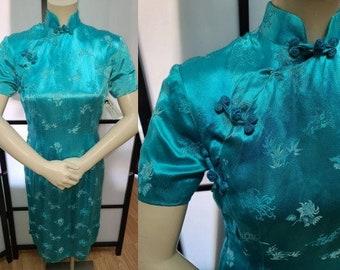 Vintage 1950s Cheongsam Dress Turquoise Silk Satin Brocade Cheongsam Frog Closures Okinawa Japan Rockabilly Boho S a few stains