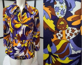 Vintage Tunic Top 1960s 70s Psychedelic Polyester Large Collar Top Micro Mini Dress German Rockstar Boho