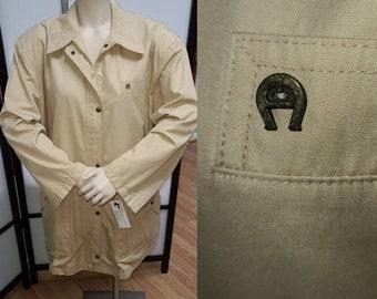 Vintage Designer Jacket 1970s 80s Etienne Aigner Long Beige Jacket Short Coat Metal A Logo Boho XL chest 52 in.