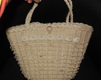 SALE Vintage 1950s Purse White Plastic Wicker Handbag Seashells Shells Made in Japan Rockabilly
