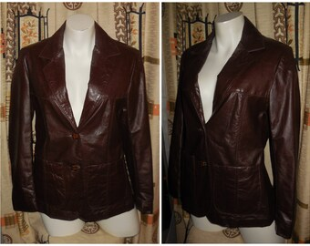 Vintage Leather Jacket 1970s Lightweight Sears Dark Brown Leather Blazer Jacket Boho S chest to 36 in.