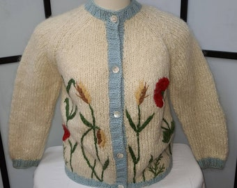 Vintage 1950s Sweater James Kenrob by Dalton Fuzzy Wool Mohair Floral Yarn Embroidered Cardigan Sweater Italy Rockabilly L