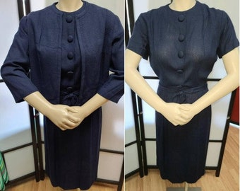 Vintage 1950s Dress and Jacket Navy Blue Rayon Linen Wiggle Dress 3/4 Sleeve Cropped Jacket Rockabilly S waist 26 in.