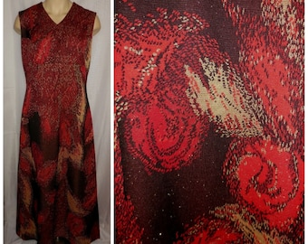 Vintage 1960s 70s Dress Long Red Gold Metallic Coronet Evening Gown Maxidress Abstract Rose Pattern Mod Boho L chest to 42 in.
