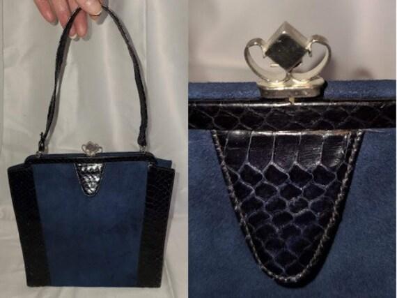 Vintage 1930s 40s Purse Dark Blue Snakeskin Suede