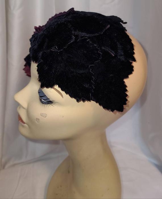 Vintage Half Hat Small 1940s 50s Dark Purple Velv… - image 6