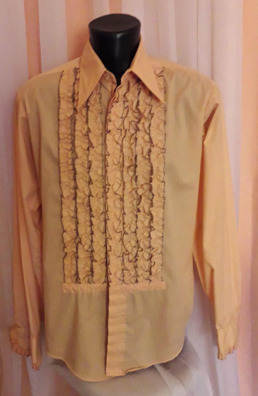 cheapest enjoy clearance price best collection Vintage Men's Shirt 1970s Orange Ruffled Tuxedo Shirt Black ...