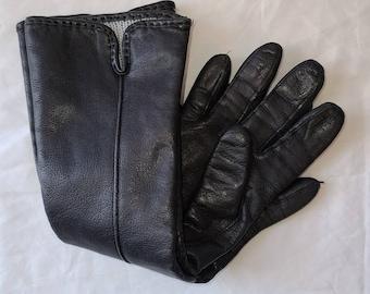 Vintage Leather Gloves 1980s 90s Midlength Black Leather Gloves Knit Lining Boho 6 1/2