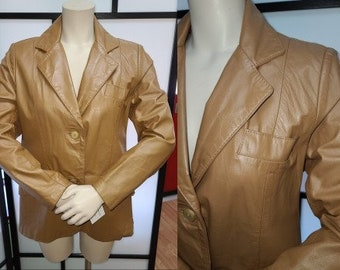 Vintage Leather Jacket 1970s Cognac Light Brown Fitted Leather Blazer Jacket Boho M chest 38 inches