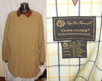 Vintage Men's Designer Jacket Loro Piana Storm System All-Weather Jacket Made in Italy Wool Blend Leather Collar Duffle Coat XL