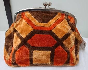 Vintage Cosmetic Bag 1970s Orange Brown Geo Pattern Carpet Bag Makeup Bag Purse German Boho Op Art 9 x 11 in.