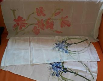 SALE Lot of 2 Vintage Silk Scarves Handpainted Floral Silk Scarf White Pink Blue 1 Lg Square 1 long Boho
