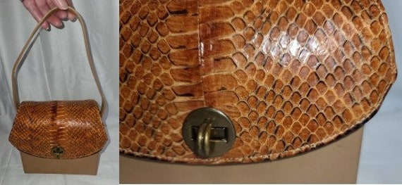 Vintage Snakeskin Purse 1930s 40s Cognac Brown Sna