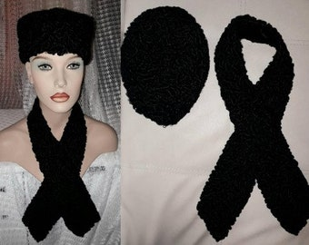Vintage Fur Hat and Collar 1950s 60s Black Persian Lamb Fur Pillbox Hat and Long Scarf Wrap German Art Deco Rockabilly Hat 21.5 in.