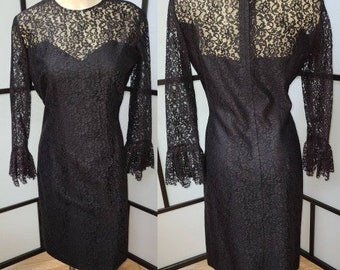 Vintage Black Lace Dress 1960s Cocktail Dress Sheer Frilly Lace Sleeves LBD Mod Goth S hips 36 in.