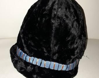 Unworn Vintage Childs Hat 1930s 40s 50s Black Velvet Bucket Hat Cap Colored Ribbon Accent NWT German Art Deco 20 in.
