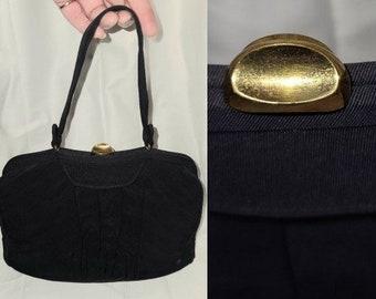 SALE Vintage 1930s 40s Purse Dark Navy Blue Small Fabric Handbag Top Handle Art Deco Rockabilly