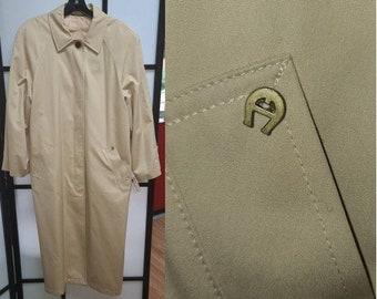 Vintage Designer Coat 1970s Etienne Aigner Long Beige Trench Coat Overcoat Metal A Logo Belt Boho XL chest 44 in.