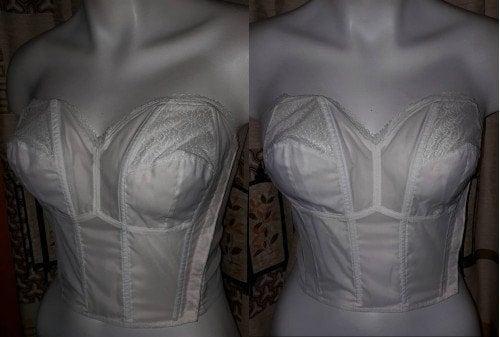 Unworn Vintage Bra 1950s Semi Sheer White Nylon Lace Strapless Bustier Bra NWOT German Rockabilly Pinup Wedding Bridal 38 85 B C
