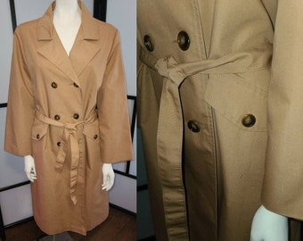 Vintage Lightweight Coat 1970s Sears Crisp Tan Cotton Blend Classic Trenchcoat Raincoat Spring Coat Breakfast at Tiffany's  L XL Petite