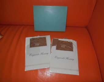 DEADSTOCK Vintage Stockings Two Pair Unworn 1960s Nylon Thigh High Stockings NIP Exquisite Hosiery USA Rockabilly Pinup