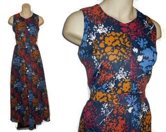 Vintage 1970s Dress Long Semisheer Floral Print Maxi Dress Denmark Danish Boho M