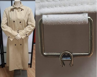 Vintage Designer Coat 1970s Etienne Aigner Long Beige Trench Coat Overcoat Metal A Logos Boho L chest 41 in.
