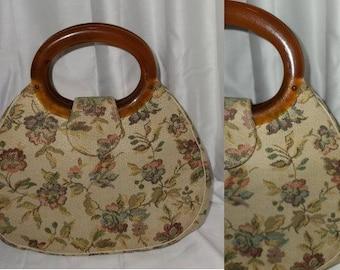 Vintage Tapestry Purse 1950s 60s Round Beige Tapestry Handbag Round Plastic Tortoiseshell Handles Rockabilly Mod