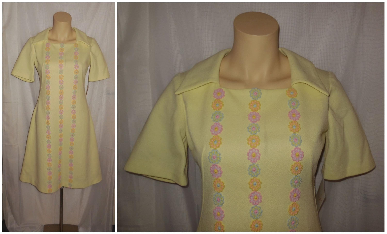Sale vintage s s dress light yellow polyester minidress