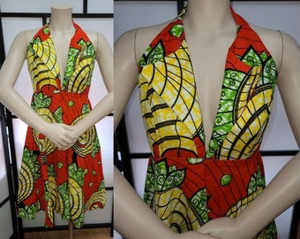 Vintage Ethnic Sundress Bright Minidress Halter Top Hitarget African Wax Print Fabric Unique Details Boho M chest 38 in.