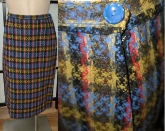 Vintage 1950s Skirt Brown Blue Purple Woven Plaid Wool Blend Pencil Skirt Rockabilly Pinup Mid Century M