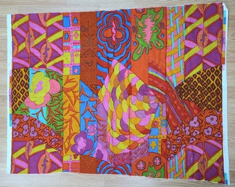 Vintage Jack Lenor Larsen Fabric Remnant 1963 Baobab Collab with Anthony Ballatore Bright Abstract Wool Blend Fabric Psychedelic Pop 1 yd.