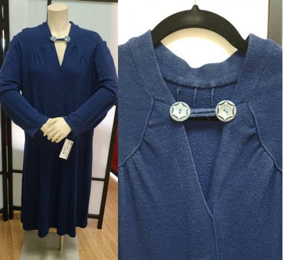 Vintage 1920s 30s Dress Heavy Blue Wool Blend Drop