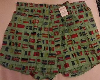 Unworn Vintage Men's Underwear 1980s 100% Cotton Green Boxer Shorts European Flag Print NWT German Boho M L