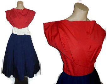 Vintage 1950s Dress Navy Blue Red Full Skirt Cotton Dress Sundress 4th of July Rockabilly Kleid  Germany M chest to 38 in