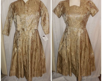 Vintage 1950s Dress and Jacket Gold Metallic Brocade Floral Pattern Rhinestones Cocktail Rockabilly Glamour S chest to 36 in.