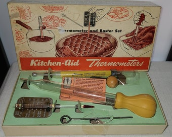 Unused Vintage Thermometer Set 1950s Kitchen Aid Thermometer Baster Set in Original Box with Pamphlet Cheney Tru Temp Mid Century Kitchen