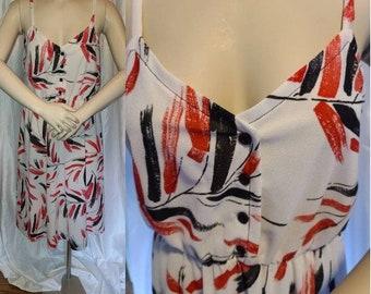 SALE Vintage 1970s 80s Sundress Thin Semi Sheer White Polyester Dress Thin Straps Red Black Abstract Brush Print Sunshine Alley Boho M