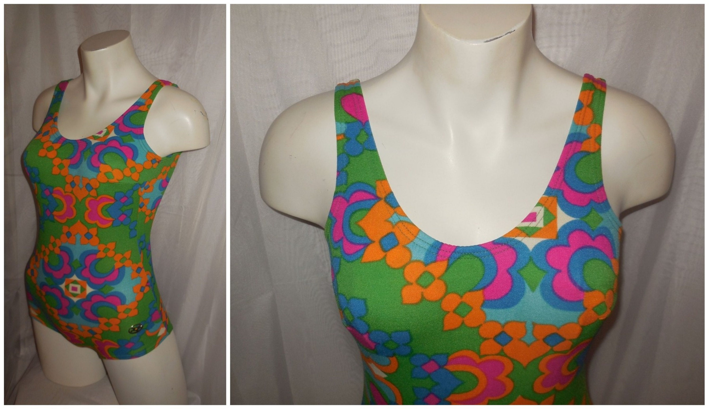 8fa9cdb75153f Vintage 1960s 70s Bathing Suit Bright Multicolor Psychedelic Floral Print  One Piece Swimsuit Mod Boho S chest to 36 inches