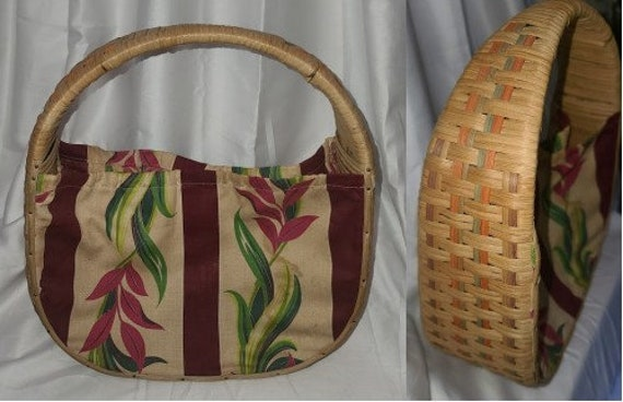 Vintage 1940s Purse Wicker Straw Floral Print Fabr