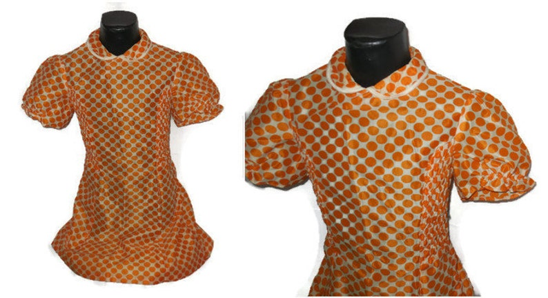 SALE Vintage Girls Dress 1950s 60s Girl Nylon Dress Orange White Polka Dot Dress German Mod Lolita Kids Teenager chest to 32 in,