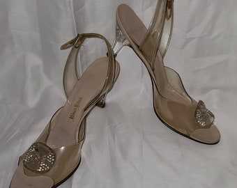 Vintage 1950s Shoes Clear Vinyl Ankle Strap Peep Toe Pumps Carved Lucite Heels Rhinestone Lucite Ornaments Rockabilly Pinup US 7 or so