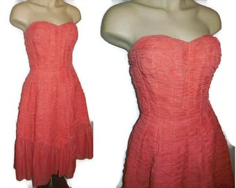 Vintage 1950s Dress Light Red Strapless Prom Dress Bouffant Mermaid Rusched Nylon Sweetheart Neckline Rockabilly Formal  S chest 36
