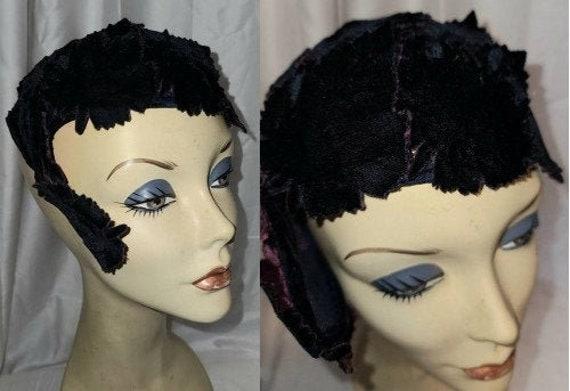 Vintage Half Hat Small 1940s 50s Dark Purple Velv… - image 1