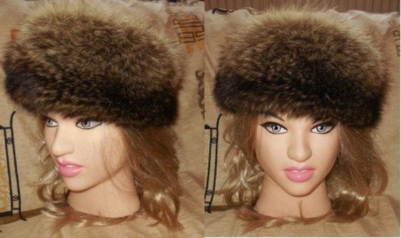 da8bbcdcb8774 Vintage Fur Hat 1980s Fluffy Raccoon Fur Hat Beautiful