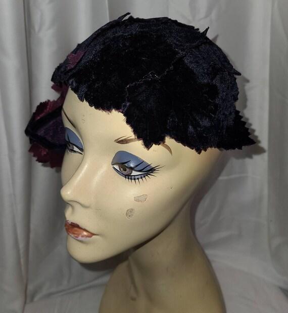 Vintage Half Hat Small 1940s 50s Dark Purple Velv… - image 7