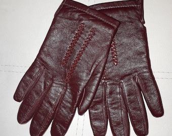 Vintage Leather Gloves 1980s Oxblood Maroon Leather Gloves Lined German Boho 8 L XL